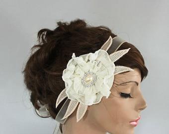 Ivory Bridal Head Piece, Weddings Flower Headband, Rhinestone Accent, BohoChic Wedding Champagne, Cream, Hair Fascinator, Handmade, ooak