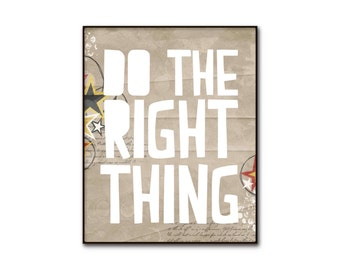 Inspirational Typography Poster Digital Art Print Modern Contemporary Stars Kraft Beige Brown Do The Right Thing Bright Boys Bedroom Art