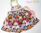 SALE 2T  Circus Party Halter Dress, In Stock and Ready to Ship