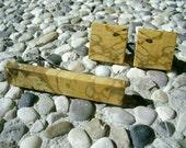 TIE Clip CUFFLINKS Set - Wooden Spalted Black HORNBEAM Tie Clip/Cufflinks Set, Handmade