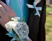 Book Page Prom Corsage Pearl Bracelet and Boutonniere Set Made to Order