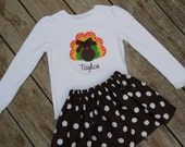 Girl's Toddlers Skirt and Shirt Thanksgiving Outfit - Brown Polka Dot Skirt with Turkey Applique Shirt