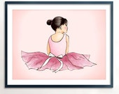 Ballerina Dark Brown Art Printable - Instant Download