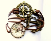 Vintage World Map #2 Leather bracelet bronzecolored - Maritime anchor compass globetrotter jetsetter travel seafaring farewell gift