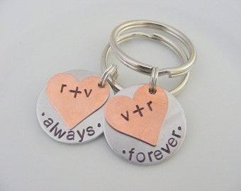 Personalized Hand Stamped Couples Key Chains