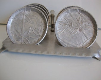 Aluminum Coaster Set,  Coaster Set with Caddy,  Seven Coasters,  Bamboo Pattern Decoration