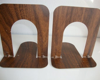 Metal Bookends, Pair of Vintage Metal Industrial Bookends, Faux Wood grain