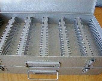 Photo Slide Box, Coin Holder Box, Cardboard Coin Holder, Industrial Gray Metal Box, 150 Photo Slide Holders,  Crafts,  Jewelry