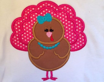 Polka Dot Miss Turkey Custom boutique appliqued monogrammed personalized, boys, girls, t shirt, one piece w/snaps, thanksgiving, fall'