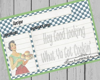 Printable Recipe Cards 3.5X5 | 4X6 Blank Recipe Cards | 3X5 Retro Housewife Recipe Card For Bridal Shower