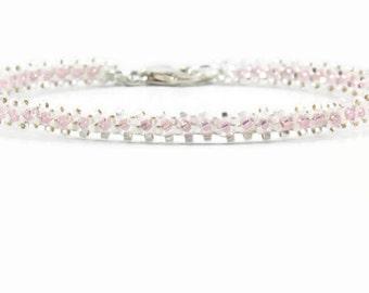 Beaded Minimalist Bracelet - Stacking Layering Bracelet - Beadwork Jewelry - Seed Bead Bracelet - White Delicate Bracelet