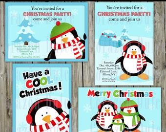 Christmas Penguins invitations PRINTABLE INVITATION