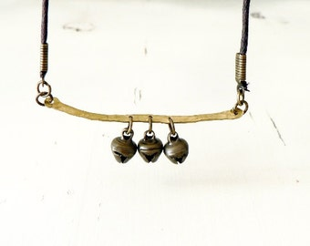Boho necklace , Metal and Leather necklace, bronze bells necklace, rustic