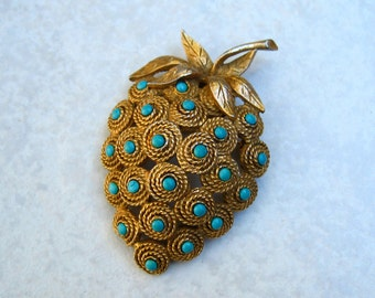 Vintage Har Brooch Strawberry Faux Turquoise Gold Tone
