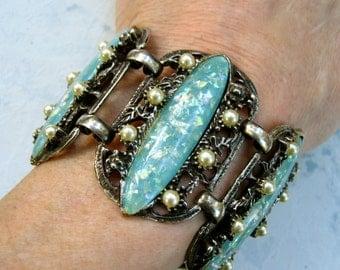Vintage Selro Bracelet Wide Aqua Blue Confetti Lucite Faux Pearls