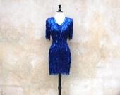Vintage 80's Oleg Cassini beaded wiggle dress- 80s royal blue designer cocktail dress- medium