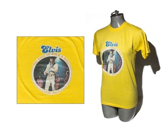 "1970's Vintage Yellow Elvis Tshirt ""The King of Rock & Roll 1935-1977"" Boxcar Enterprises, Inc size Small - Medium"