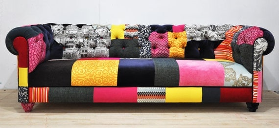 Color Patch Chesterfield Patchwork Sofa