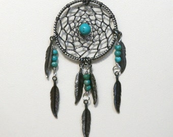 Dream Catcher Turquoise & Gunmetal Dreamcatcher Necklace with Feathers