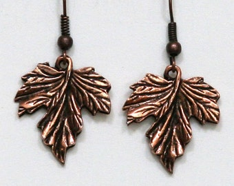 Maple Leaf Antiqued Copper Silver Gold Earrings