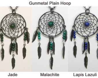 Dream Catcher Jade, Malachite, Lapis Lazuli Gunmetal Dreamcatcher Necklace with Feathers