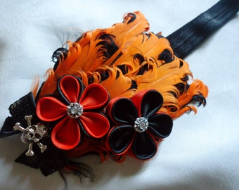 Boutique Style Halloween Kanzashi Nagorie Feather Headband