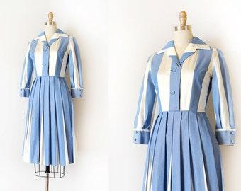 vintage 1950s dress // 50s blue striped day dress