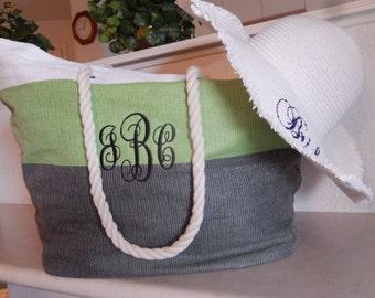 Bridal Shower Gift, Monogrammed Beach Tote Bag, Bride Gift Basket