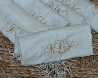 Monogram Shawls, Bridal Party Gifts, 6 Shawls