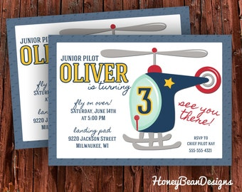 PRINTABLE Helicopter Birthday Party Invitation Flying Hover Helo Pilot Airplane