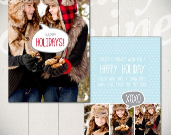 Christmas Card Template: Snow Day D - 5x7 Holiday Card Template for Photographers