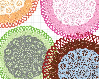 Lace Doily Digital Clip Art, Instant Download, Commercial Use Images