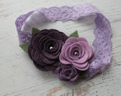 Large Wool Felt Rose Bouquet in Shades of Purple-Baby.Infant.Toddler Headband. Baby Shower Gift.Flower Girl Headband.Purple Headband