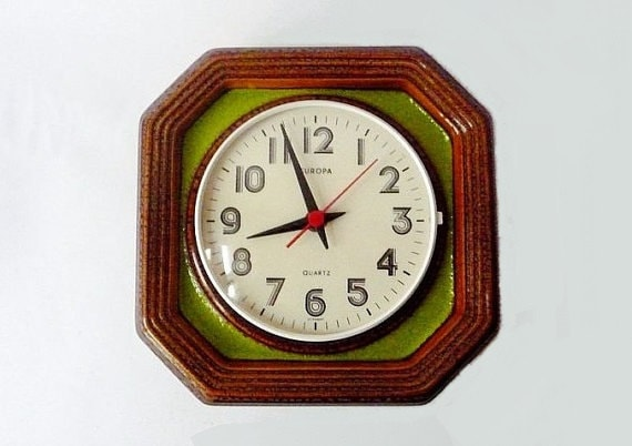 Vintage German Ceramic Wall Clock from Europa