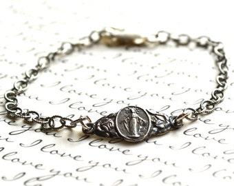 Miraculous Medal - Bronze or Sterling Silver Mary Bracelet  - Miraculous Medal Bracelet