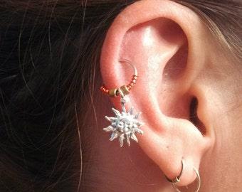 Sun Cartilage Hoop Earring Boho Tragus Helix Celestial Piercing