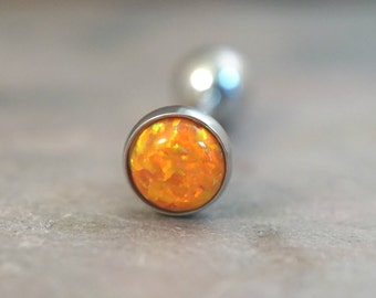 Orange Fire Opal Tongue Barbell Piercing