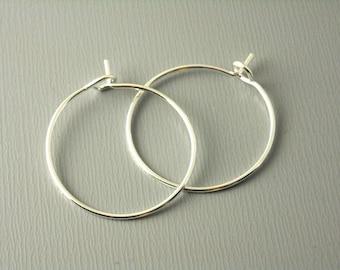 HOOP-SILVER-WINE-20MM - 20mm Silver Plated Hoop Earrings - 20 pcs