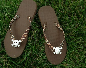 Brown Flip Flops - Brazilian 100%  Rubber Flip Flops Sides Wrapped w/Cheetah Ribbon Completed with Rhinestone Skull
