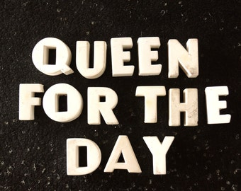 "Vintage White Ceramic Push Pins ""Quee For The Day"" (c.1940s) - Bulletin Board Decor, Altered Art Supply, and more"