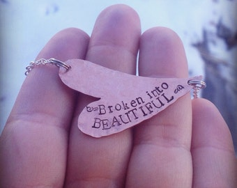 Hand stamped mixed metal heart necklace