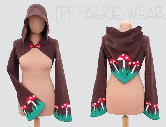 Mushroom fleece 'Korrigan'Shrug. 'Concise' pixie hood/ 'Sidhe' sleeves.