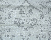 Vintage Flock Wallpaper by the Yard 70s Retro Flock Wallpaper - 1970s Gray and White Flock Damask on Shiny Metallic Silver