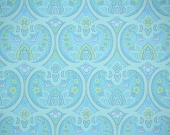 Retro Wallpaper by the Yard 70s Vintage Wallpaper – 1970s Aqua Blue and Green Damask Geometric