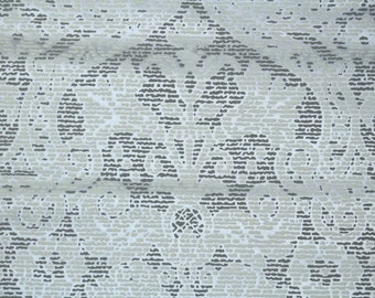 Retro Flock Wallpaper by the Yard 70s Vintage Flock Wallpaper - 1970s Gray and White Flock Damask on Shiny Metallic Silver