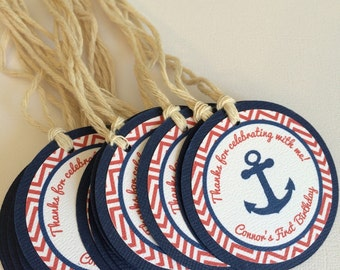 Nautical Favor Tags for First Birthday or Baby Shower - Navy - Red - White - Anchor