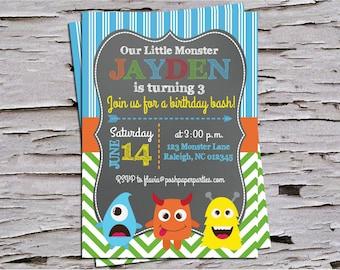 Little Monster Birthday Party Invitation - Chalkboard - Multicolor - Boy or Girl