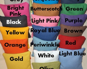 Cornhole Bags 4 Bean Bags 22 colors Orange purple navy yellow green red black grey brown