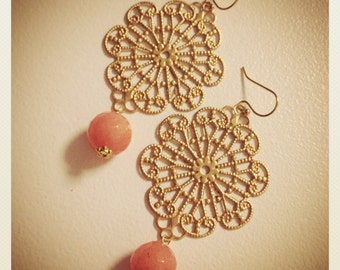 Golden Peach-Gold Plated Filigree Pendants with Soft Peach Jade Drops