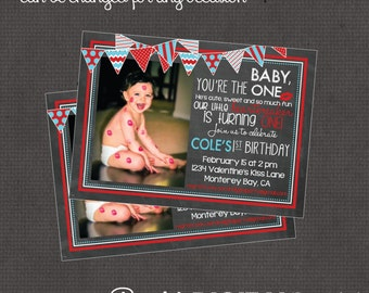 Valentines Kiss Birthday Invitation with photo 4x6 or 5x7 digital you print your own- Design 179